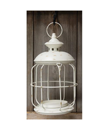 Rustic Distressed Round White Birdcage Lantern 14x8 / 36oz Candle Holder - $49.49