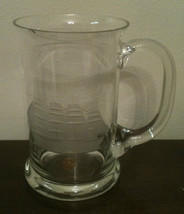Made In Romania Glass Tankard Mug Stein With Cut Glass Image Of Ship Han... - $14.84