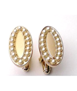 Cufflinks Gold with faux seed pearls small 1.5... - $15.00