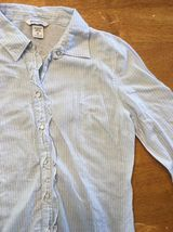 Abercrombie Girl's Blue & White Striped Long Sleeve Dress Shirt - Size XL image 7
