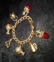Gold Tone Glass Bead Teapot Goblets Victorian Revival Vintage Charm Brac... - $9.50