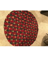 Red green gold round table cloth - $37.61