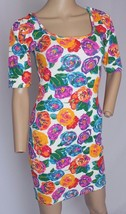 VTg 80's 90's Express Bright Floral Bodycon Bandage Grunge Dress S - $85.49
