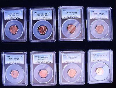 1982 - 8 Coin Set PCGS MS66RD and MS65RD LINCOLN PENNY CENT COIN LOT# N 491