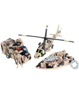 Kids Military Vehicle Play Army Toy Set Desert Camo Battle Warrior Boat ... - $21.99