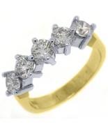 WOMENS 1.60CT BRILLIANT ROUND 5 STONE DIAMOND RING WEDDING BAND TWO TONE... - $2,767.05