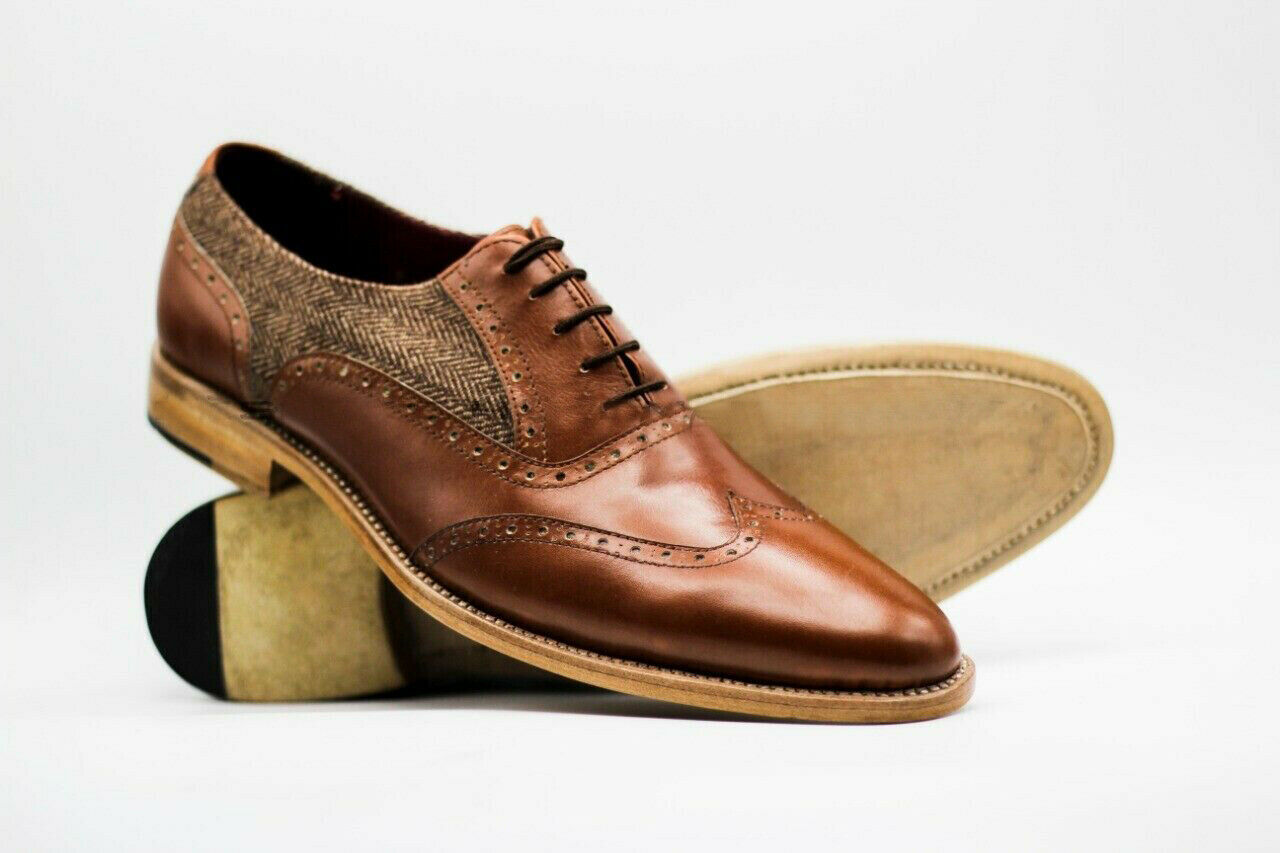 Handmade Men's Brown Wing Tip Leather and Tweed Dress/Formal Oxford Shoes