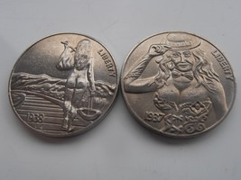 Set of 2 1930s USA Hobo Nickels of Naked Flapper Women UNC Coin Collecta... - $21.93