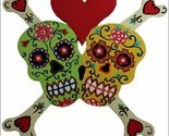 FUNKY FLORAL SKULLS IN LOVE-Skull Bones Heart Red&Ivory/OR green/yellow