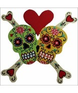 FUNKY FLORAL SKULLS IN LOVE-Skull Bones Heart Red&Ivory/OR green/yellow - £9.85 GBP