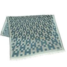HERMES Stole Cashmere Silk Blue H Logo Shawl Scarf Fashion Accessory France - $439.45