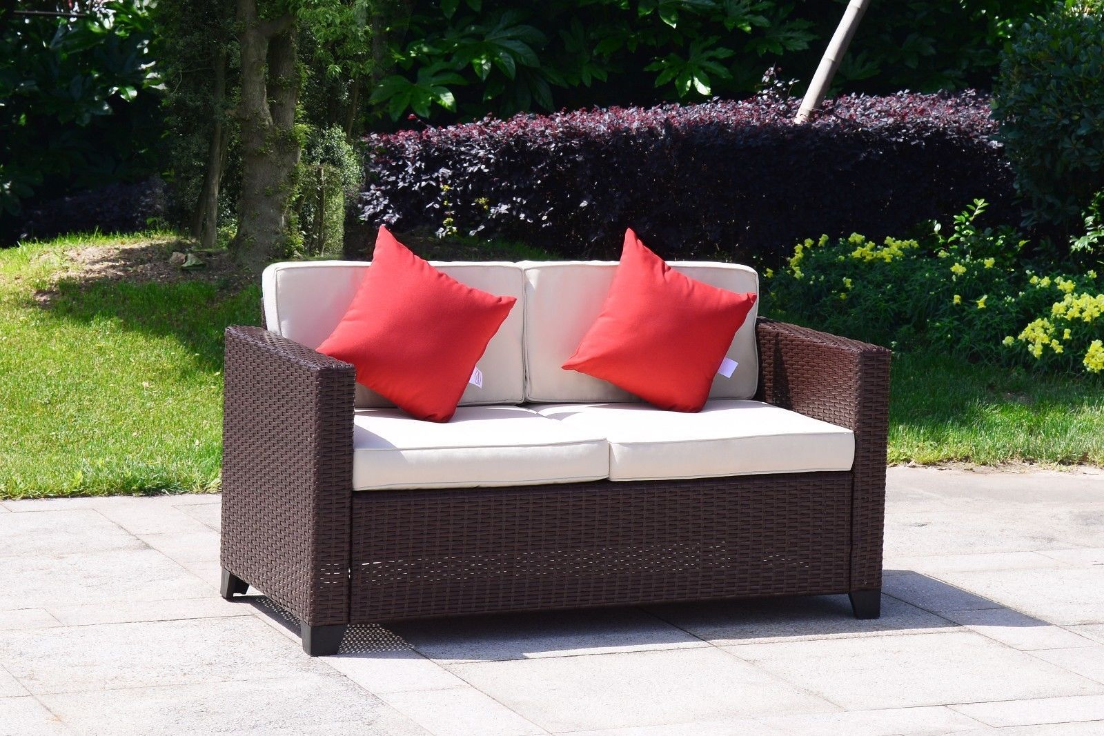 4 PC Wicker Rattan Furniture Set Sofa Cushioned Patio Lawn Loveseat Sectional