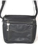 Fossil Vintage Black Leather Multi Pocket Shoulder Bag - $32.00