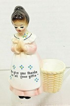 Vintage Enesco Prayer Girl Toothpick Holder We Giver You Thanks For Your... - $24.26