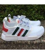 custom mens adidas casual shoes run nmd gucci sneakers white color athletic shoe - $109.00