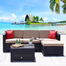 Outdoor 5 PC Patio Furniture Rattan Wicker Sofa Set Sectional Garden Dec... - $429.99