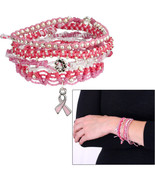 E86 CIRCLE OF SUPPORT silver beads on pink braid bracelet set in gift bag - $4.94