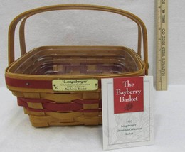 Longaberger Bayberry Basket 1993 Red Christmas Collection Liner Retired - $14.84