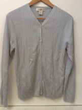 Eddie Bauer Women's Light Blue Gray Ribbed Button Up Long Sleeve Cardigan S - $14.95