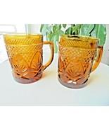 Set of 2 Cris D'Arques Antique Pattern Amber Coffee Mugs - $9.90