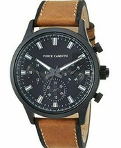 Vince Camuto VC/1096BKBN Men's 43mm Gunmetal Chronograph Watch w Leather Band