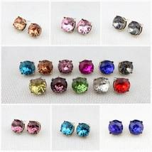 15mm Dot Button Stud Earrings Opal Solid Resin Glass Stone Women - $7.99