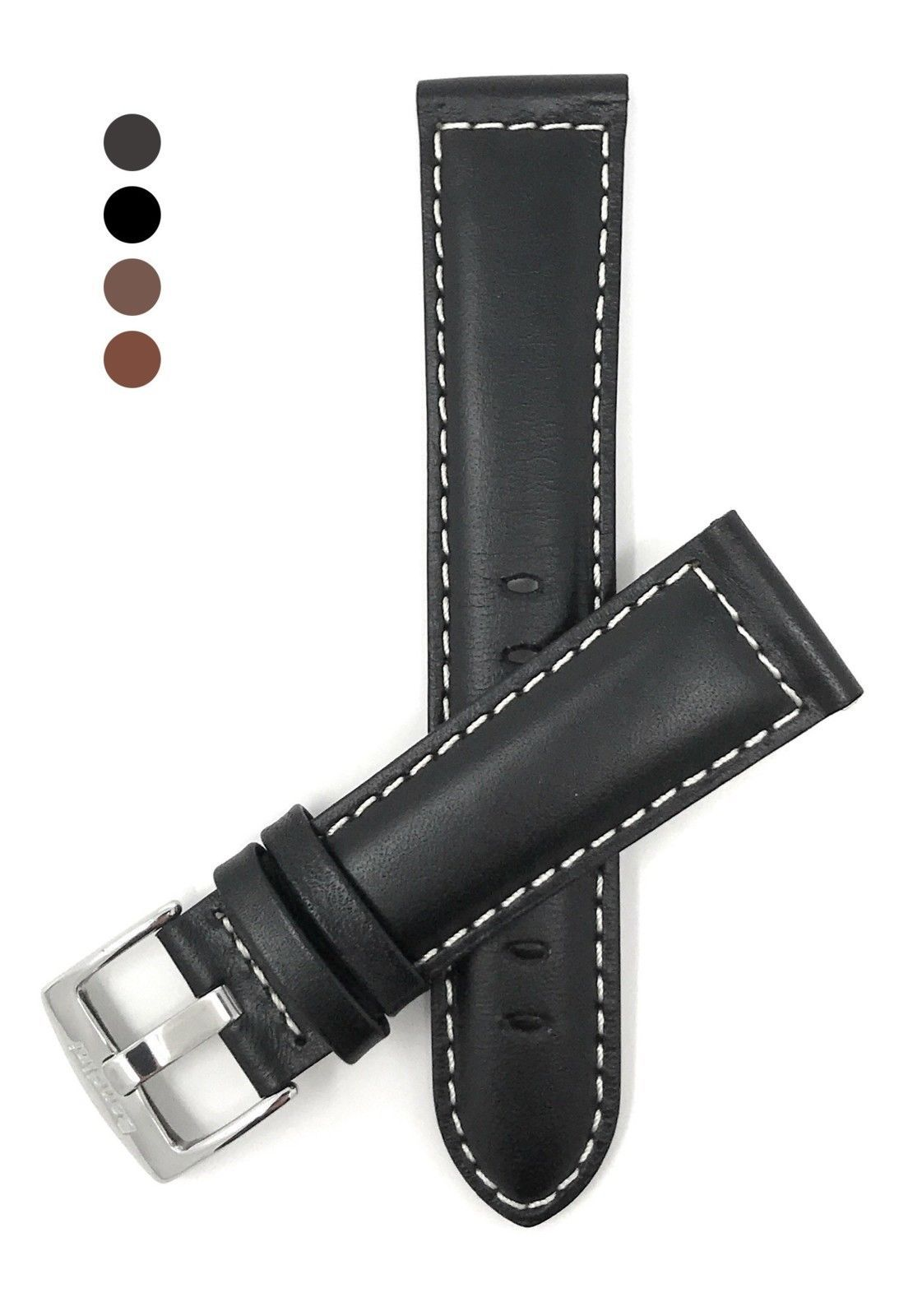 Primary image for Extra Long (XL), 22mm wide, Black Genuine Leather Watch Band Strap, Mat Finish,