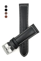 Extra Long (XL), 22mm wide, Black Genuine Leather Watch Band Strap, Mat ... - $70.99