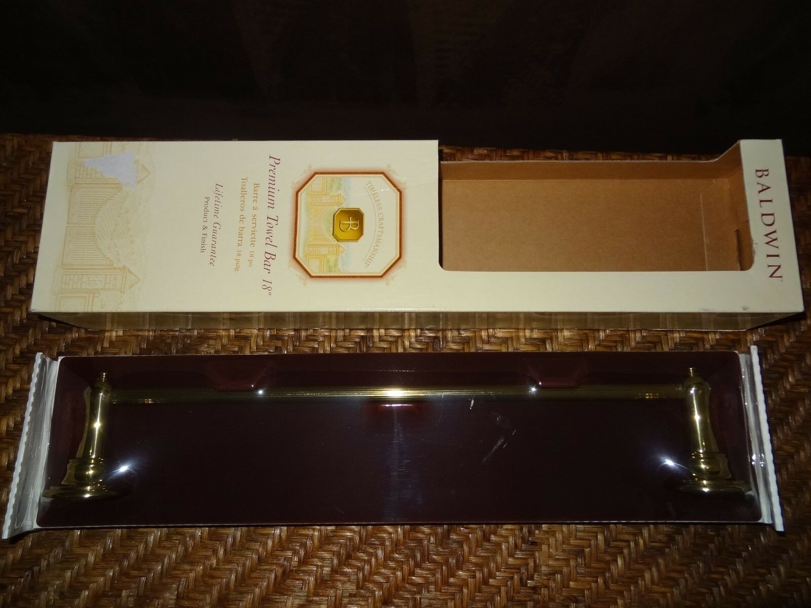 "New Baldwin Harlequin Brass 18"" Polished Bronze Towel Bar NIB 3411 030 18"