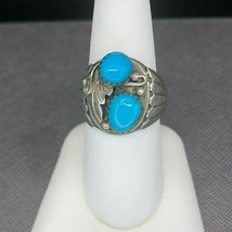 Vintage Navajo Sterling Silver Turquoise Ring Size 8.25 - $894,87 MXN