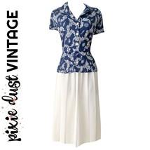 Vintage Dress 80s Peplum Navy Blue Pleated Skirt White Midi Mididress Si... - $42.72