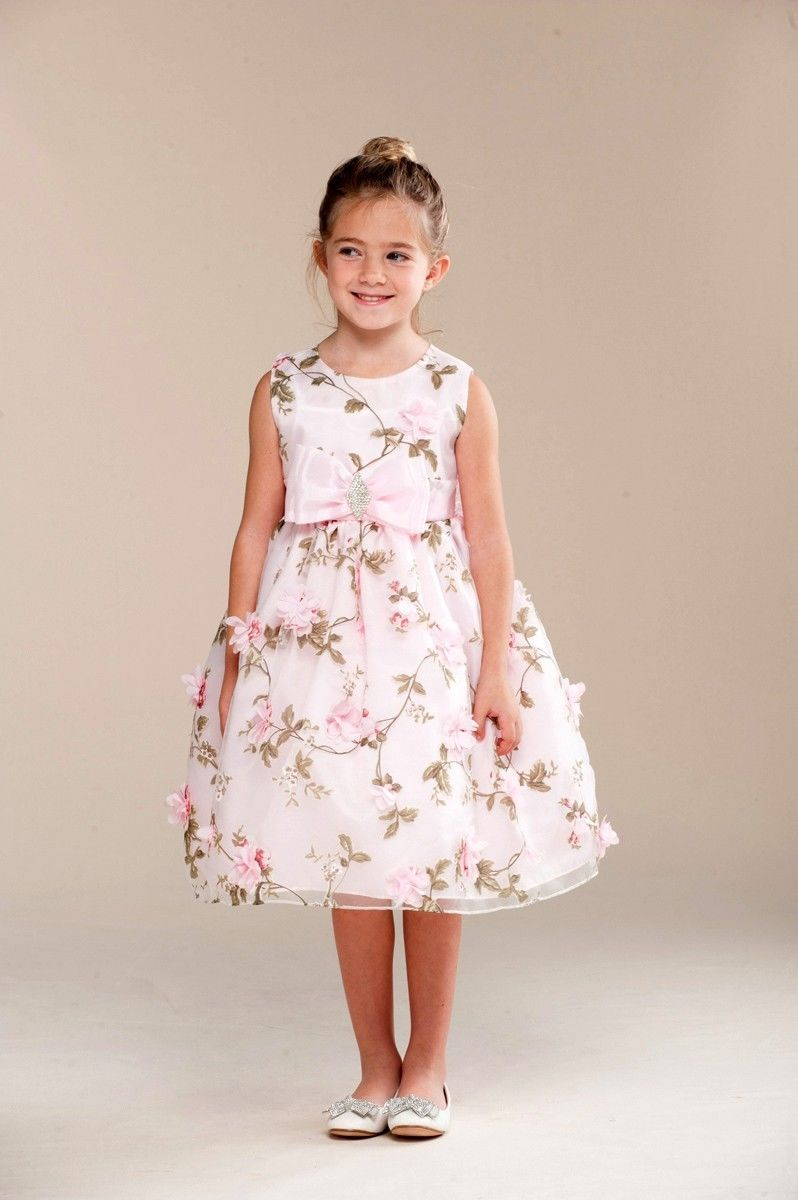 Primary image for Posh Sweet Pink Floral Embroidered Flower Girl Party Dress, Crayon Kids USA