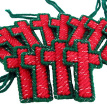A Dozen Red and Green Christmas Cross Ornaments - $34.00
