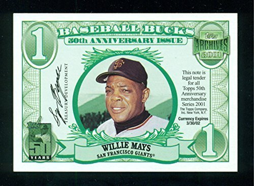 2001 Topps Archives Bucks Willy Mays $1 - Baseball Card