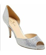Kate Spade Sage Women's Bridal shoes High Heels Peep Toe Pumps Silver US... - $49.50