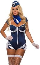 Sexy Blue Mile High Airline Stewardess Cosplay Deluxe C image 1