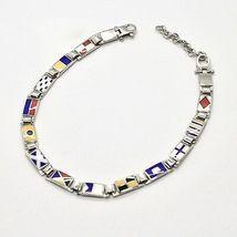 Bracelet Argent 925, Drapeaux Nautique Émaillés,Long 20 cm, Épaisseur 5 MM image 5