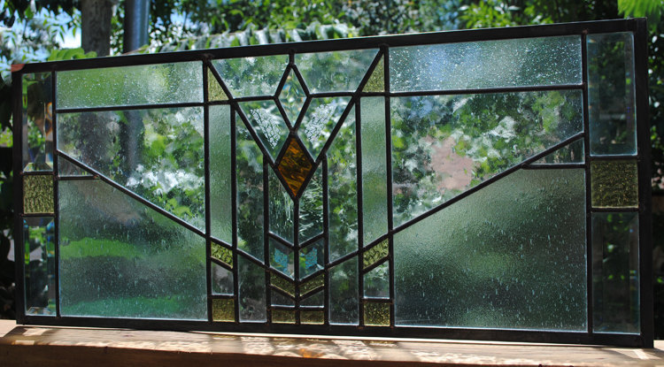 Stained Glass Window Panel Beveled Mission Style Prairie Transom customizable