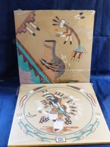 Set of 2 Indian handmade Art Color Rock Sand Pow Wow Dance Pottery wall ... - $64.35