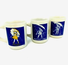 Morton Salt Coffee Mugs 1914 1921 1956 Set or Lot of 3 WHEN IT RAINS IT ... - $15.19