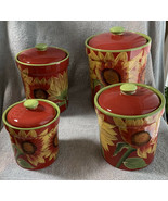 Certified International Nel Red With Sunflower Canister Set (4) HTF - $124.99