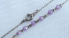"Vintage Purple Bicone Beaded Ankle Bracelet 9"" ... - $9.89"