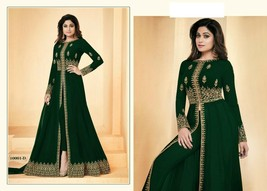 Green Hit Abaya Split Cut Ankle Long Pant Suit Indian Ethnic Dress 7640 - $134.00