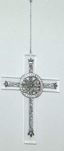 Unbranded 35026 Acrylic Cross Ornament Flower Color Pewter