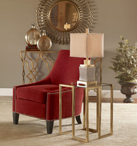 """NEW MODERN 35"""" RED CUSHIONED ACCENT CHAIR SILVER NAIL ACCENTS HARDWOOD LEGS - $767.80"""