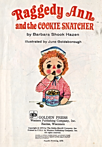 Little Golden Book - Raggedy Ann and the Cookie Snatcher -1976