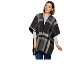 Denim & Co. Women's Plaid Printed Reversible Open Front Fleece Poncho M/... - $38.33
