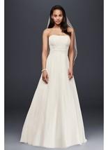 NEW David's Bridal Chiffon Wedding Dress Beaded Lace Detail V9743, UNALT... - $324.99