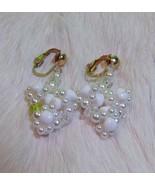 Vintage Clip On Bead Cluster Dangle/Drop Fashion Earrings - $4.00