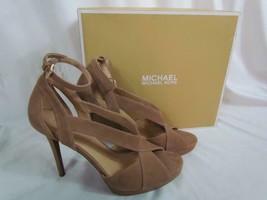 NIB Michael Kors High Heel Stiletto Tan Suede Open Toe Ankle Strap Sz 9 M - $128.24